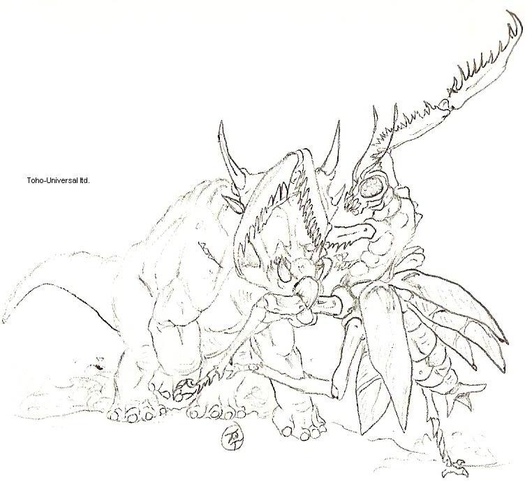 Kamacuras vs. Ferrucuttus by kaijulord21