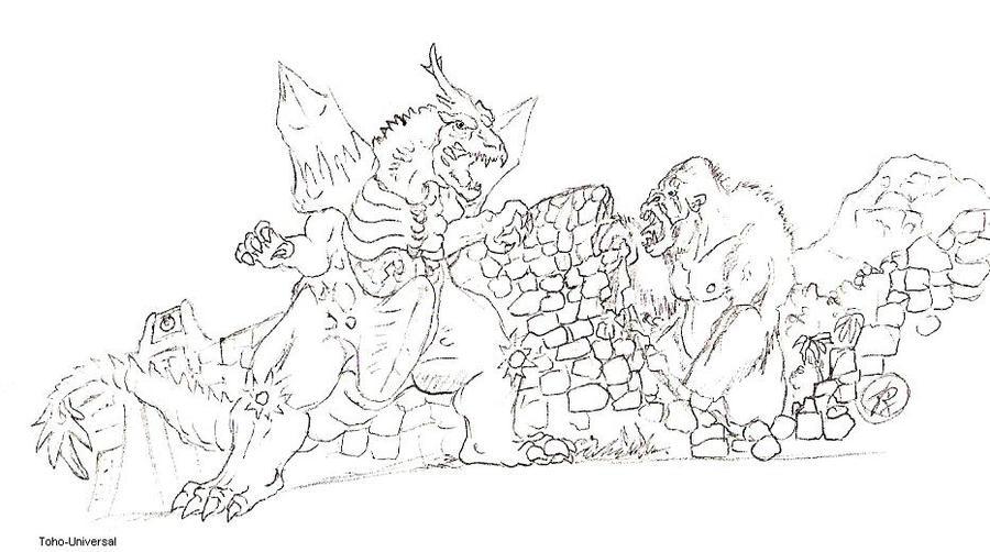 space godzilla coloring pages - king kong vs spacegodzilla by kaijulord21 on deviantart