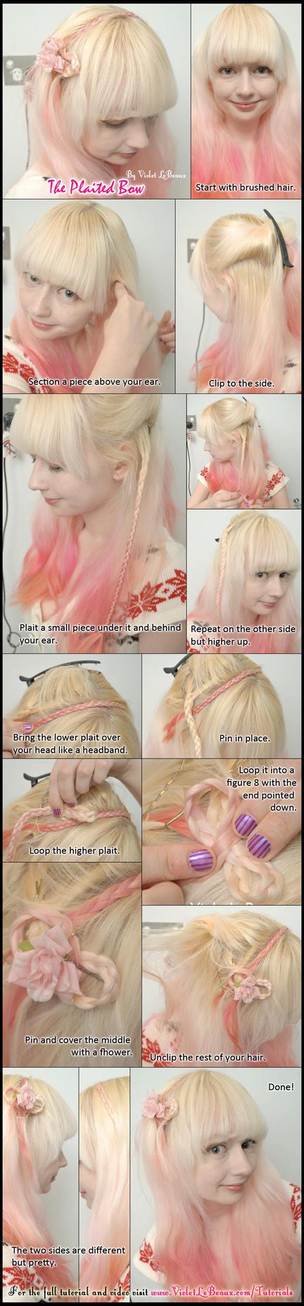 Plaited Bow Headband Hair Tutorial by VioletLeBeaux