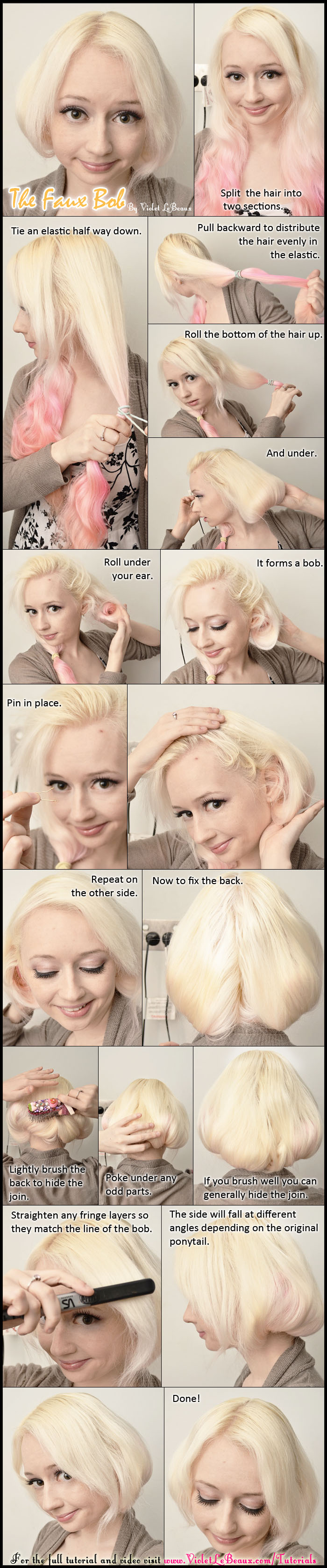 Faux Bob Hair Tutorial by VioletLeBeaux