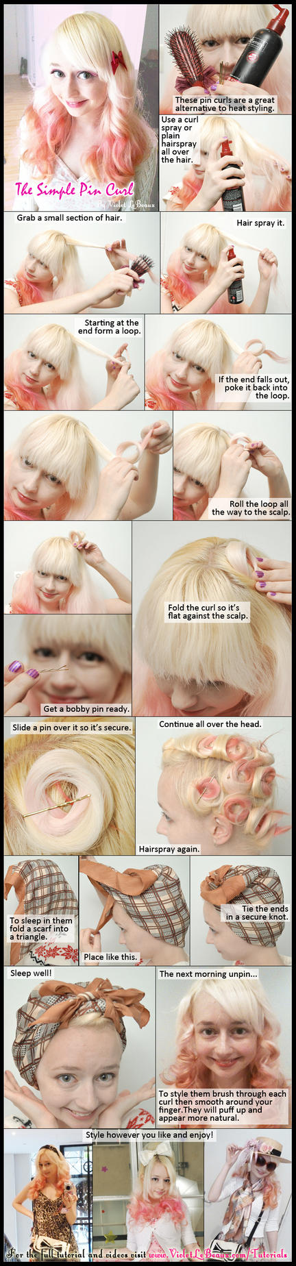 Basic Pin Curl Hair Style Tutorial by VioletLeBeaux