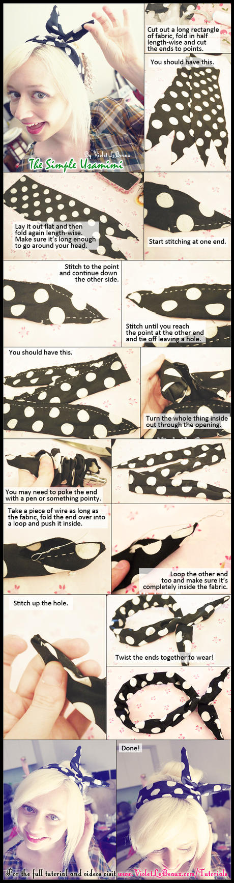Cute Usamimi Hair Accessory Tutorial by VioletLeBeaux