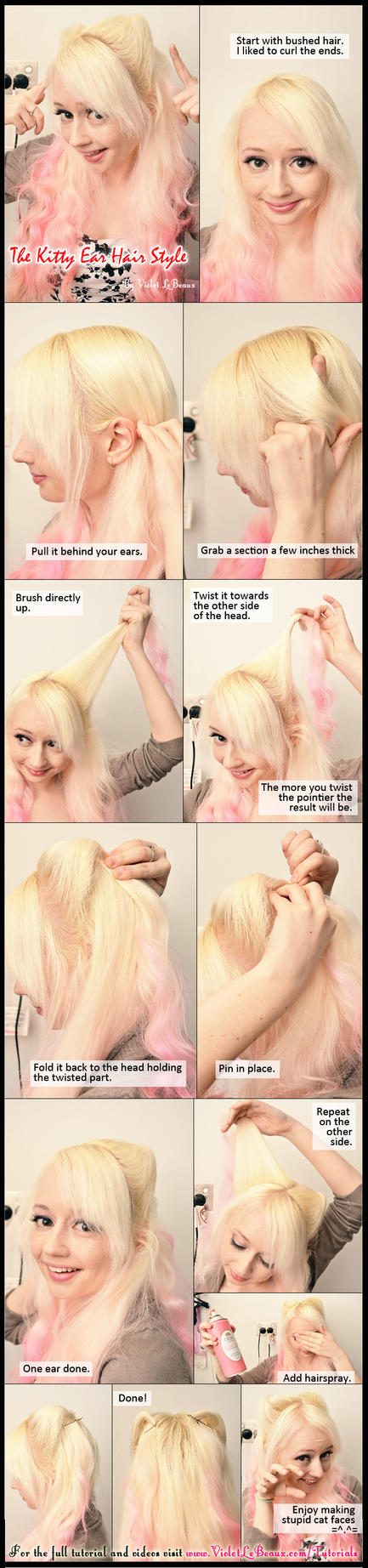 Kitty Ears Neko Mimi Hairstyle Tutorial by VioletLeBeaux