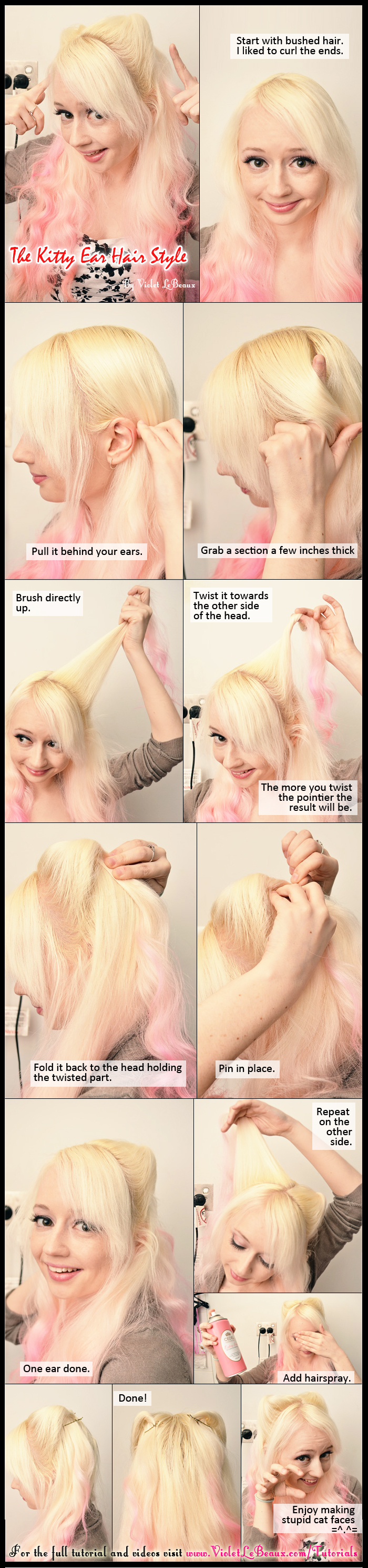 Kitty Ears Neko Mimi Hairstyle Tutorial by VioletLeBeaux