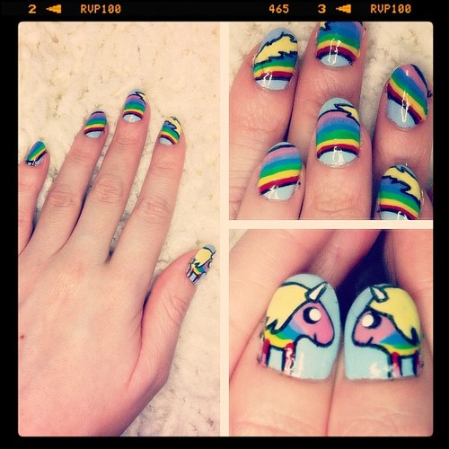 Bubble Gum Nail Art: Lady Rainicorn Nail Art By VioletLeBeaux On DeviantArt