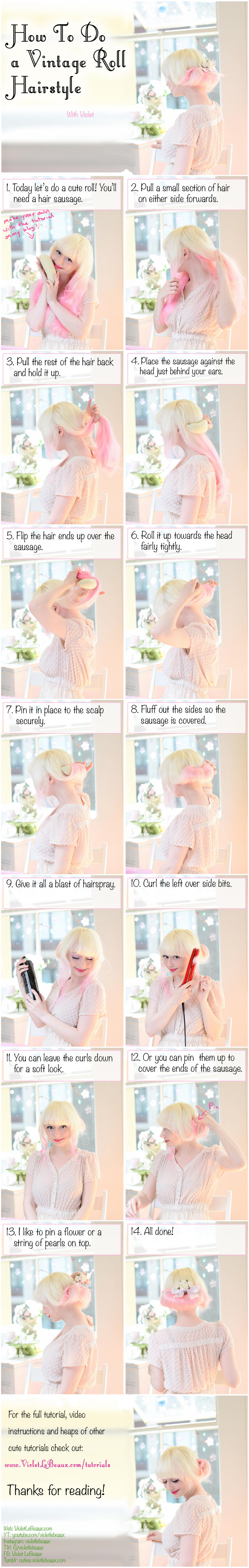 Vintage Rolled Hairstyle Tutorial by VioletLeBeaux