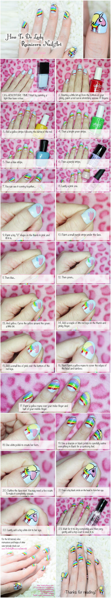 Lady Rainicorn Nailart - Adventure Time Tutorial by VioletLeBeaux