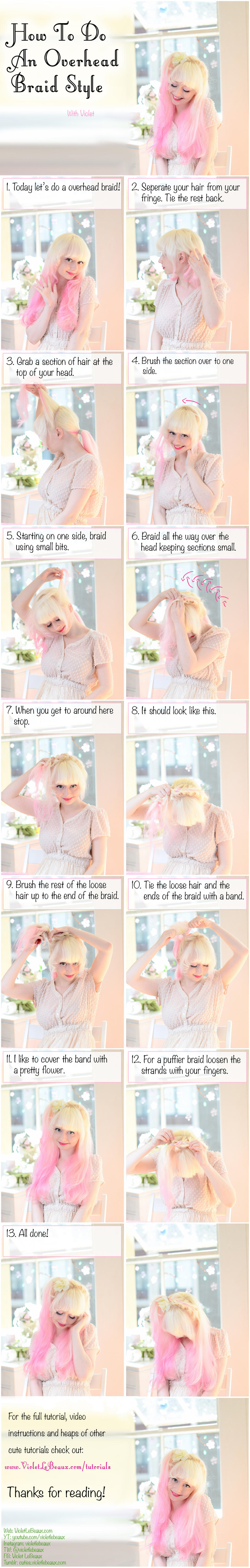 Overhead Braid and Ponytail Hairstyle Tutorial by VioletLeBeaux
