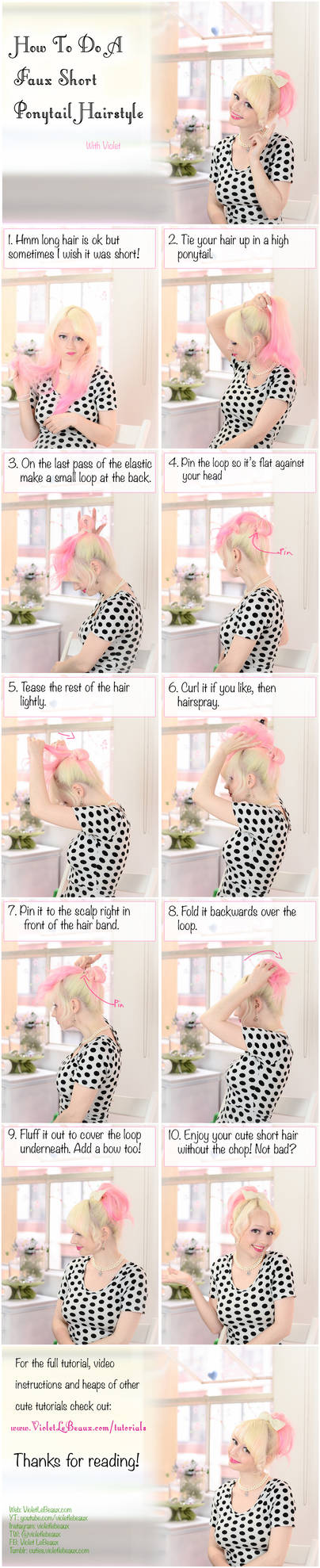 Faux Mini Ponytail Hairstyle Tutorial by VioletLeBeaux