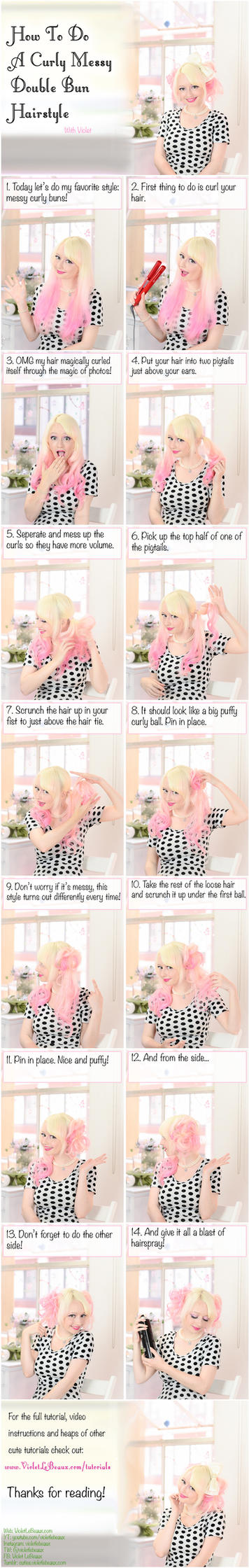 Curled Messy Bun Hairstyle Tutorial by VioletLeBeaux