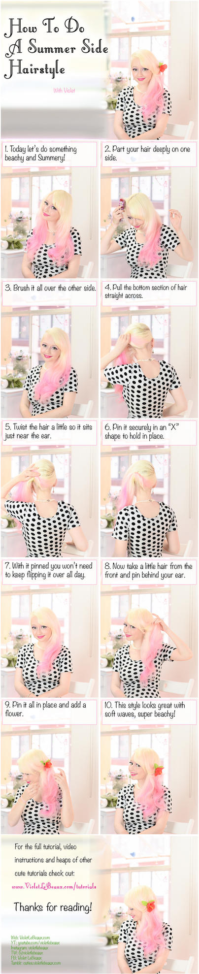 Sideswept Beach Hairstyle Tutorial by VioletLeBeaux