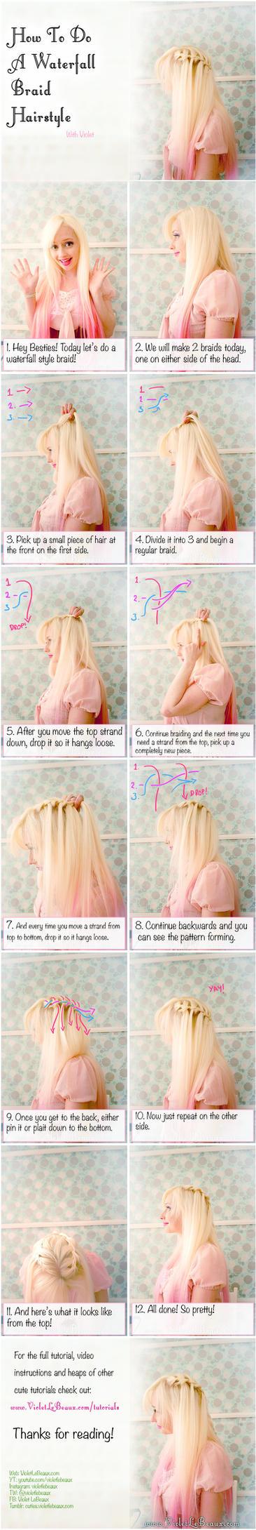 Waterfall Braid Hairstyle Tutorial by VioletLeBeaux