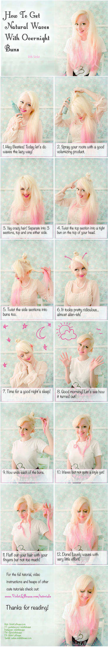 How To Use Buns For Easy Wavy Hair - Tutorial by VioletLeBeaux