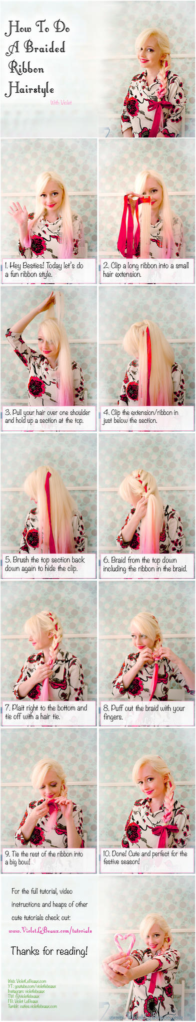 Holiday Ribbon Braid Hairstyle Tutorial by VioletLeBeaux