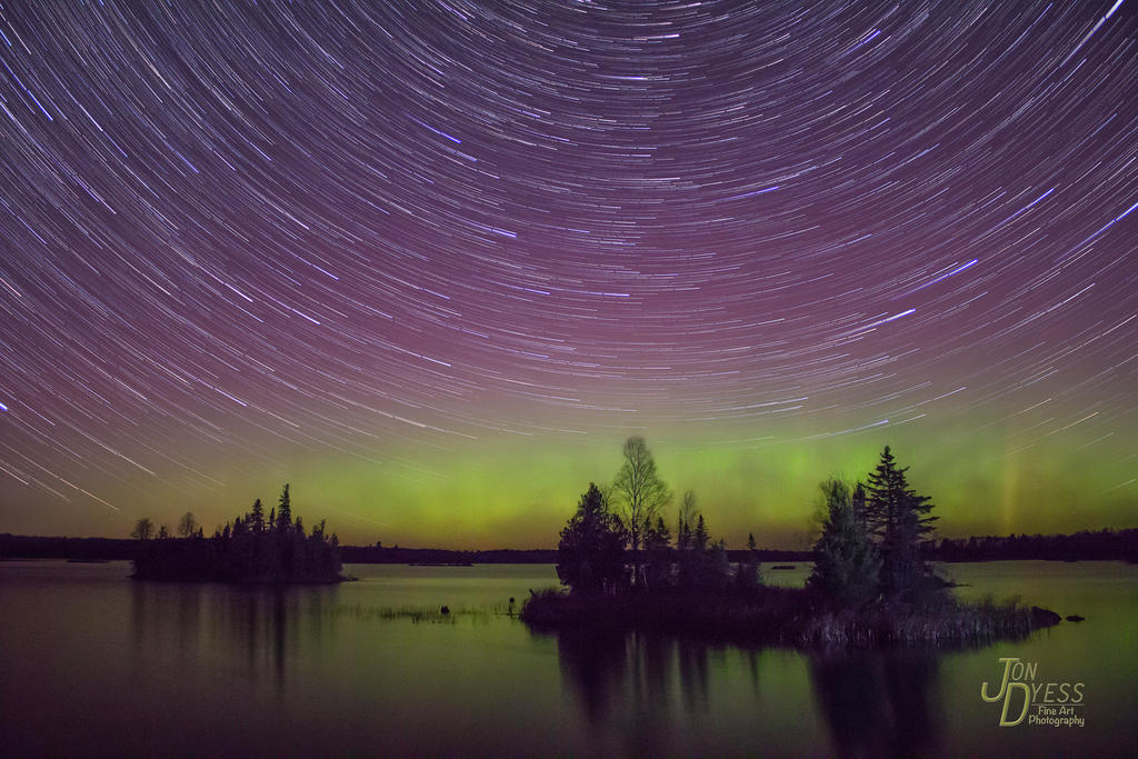 Star-trails over the Northern Lights by hull612