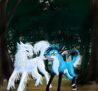 -White--wolf's Forest- by KichisCrafts