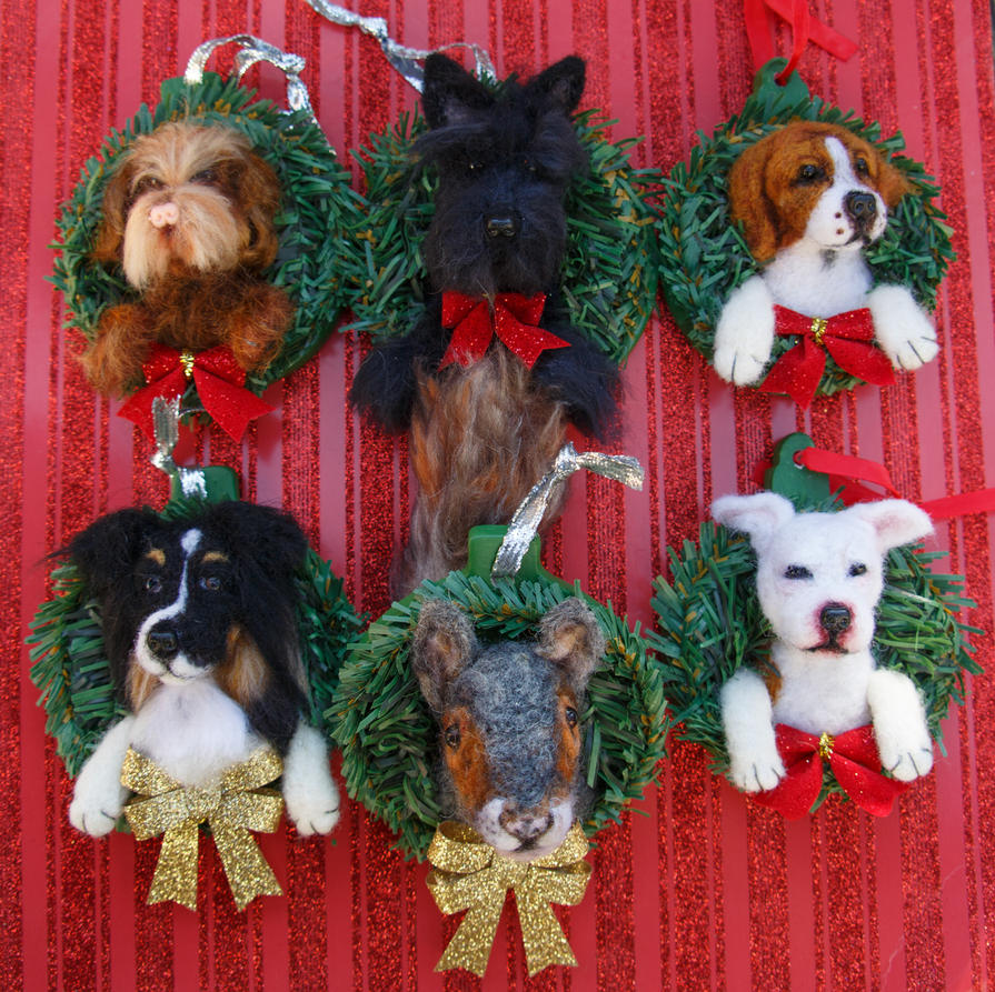 Dog christmas ornaments - Custom Needle Felted Christmas Ornaments Dog Ooak By Heartfeltcanines