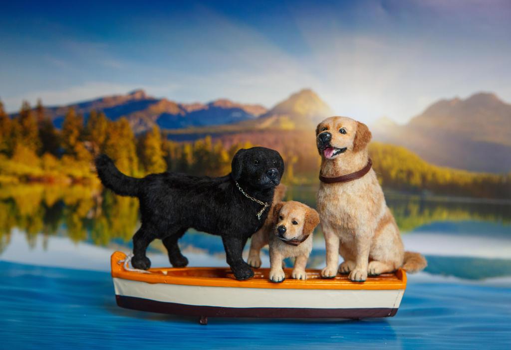 Dollhouse Miniature 1:12 Labrador Retriever Dogs by heartfeltcanines