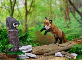 Dollhouse Miniature 1:12 Fox and Raccoon by heartfeltcanines