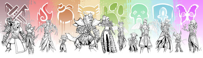 GW2 character portraits---WIP (sketching/inking)