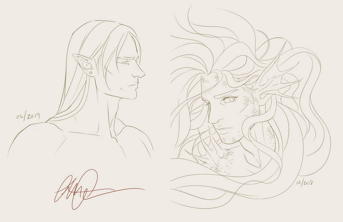 Jael and Antaeus - sketches by anniecoleptic