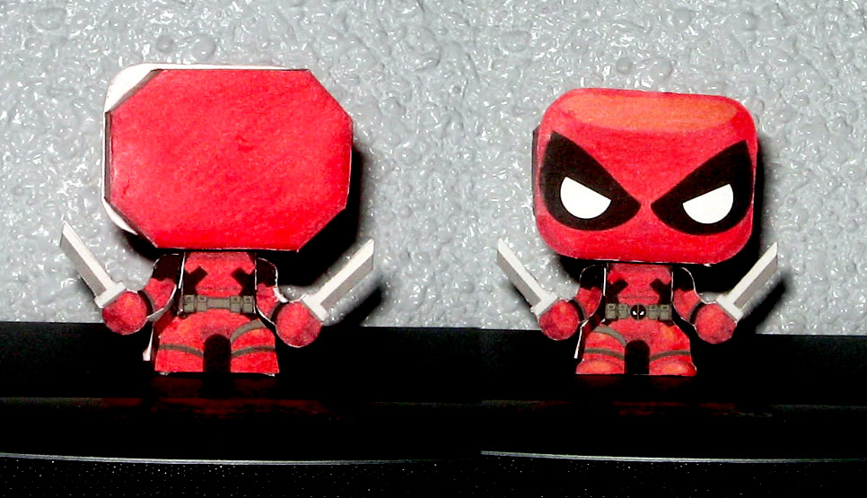 Papertoy Deadpool chibi Papercraft by ValhallaAsgard