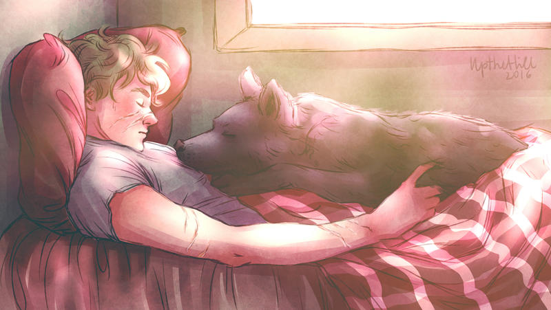 Wolfstar cuddles 3 by upthehillart