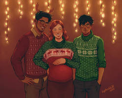 The Potters Christmas Portrait by upthehillart