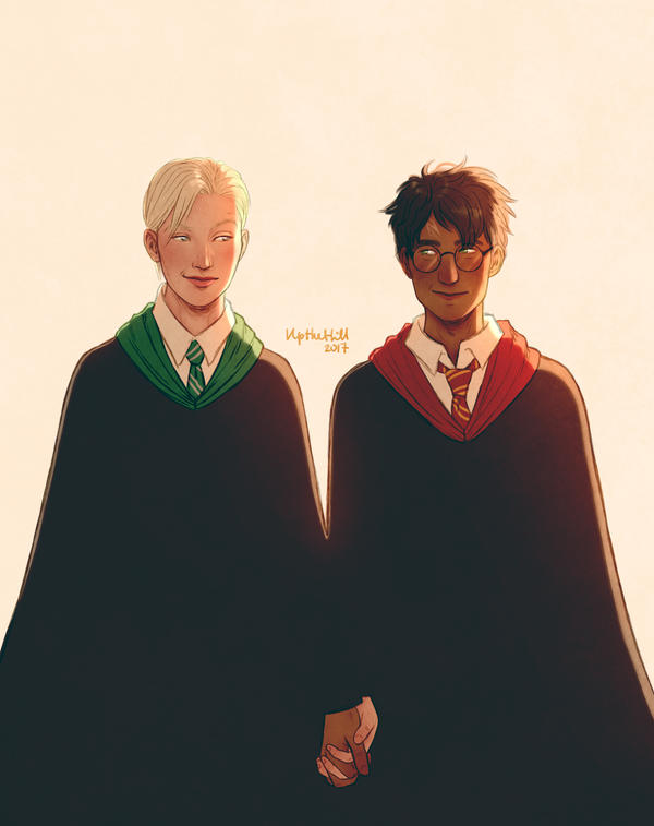 Trans!Draco and Harry by upthehillart