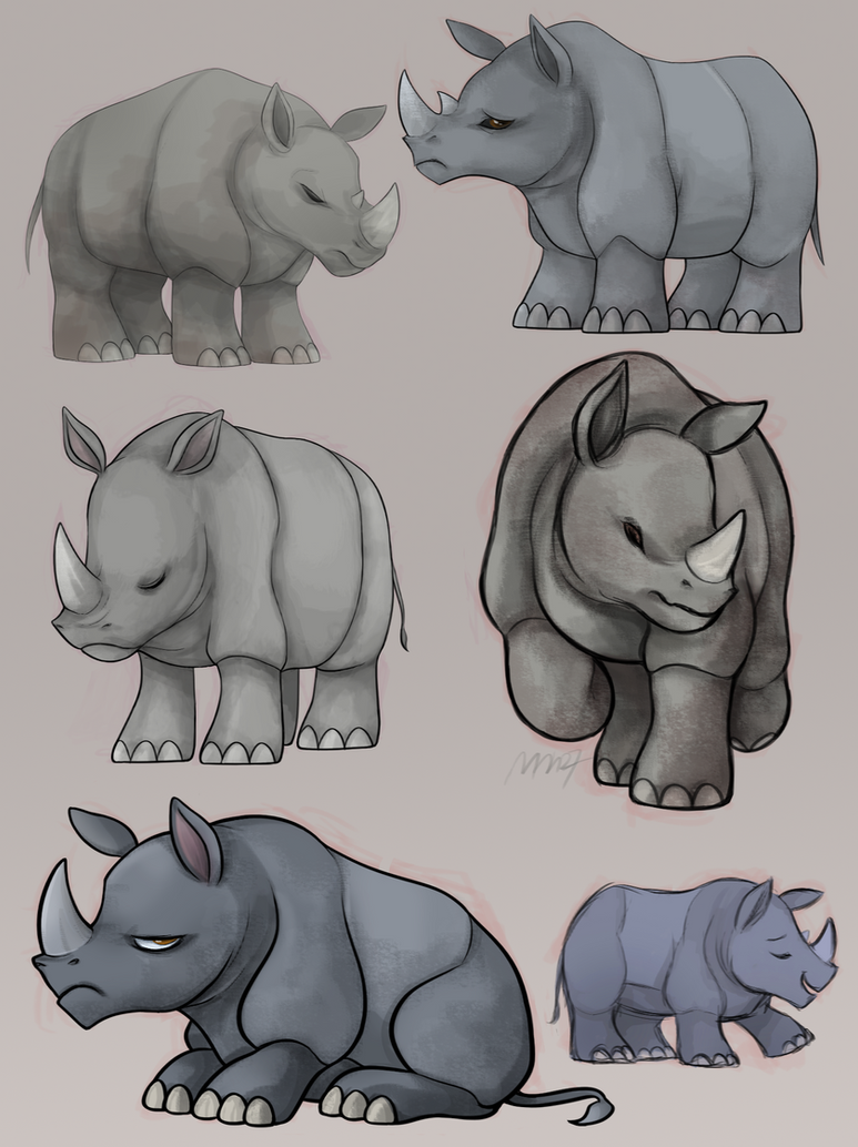 Rhino sketches by Mn27