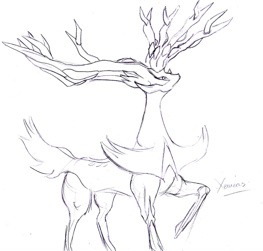 Pokemon Coloring Pages Xerneas : Xerneas coloring pages