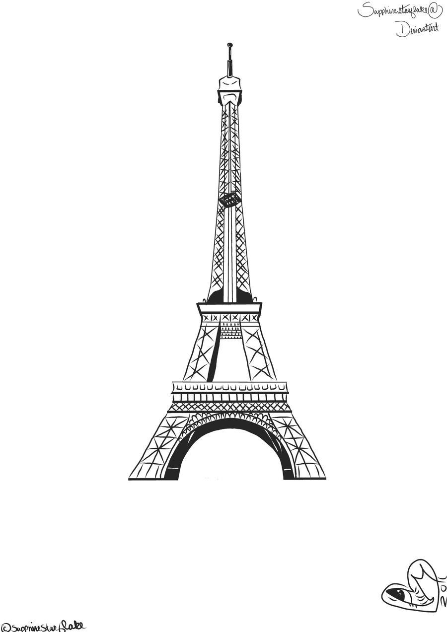 Line Drawing Eiffel Tower : Eiffel tower lineart by sapphirestarflake on deviantart
