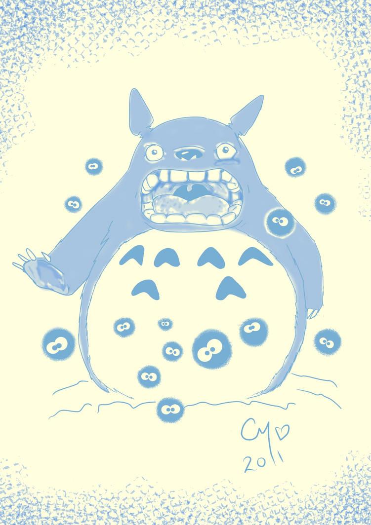 Totoro and Dust Sprites by sapphirestarflake