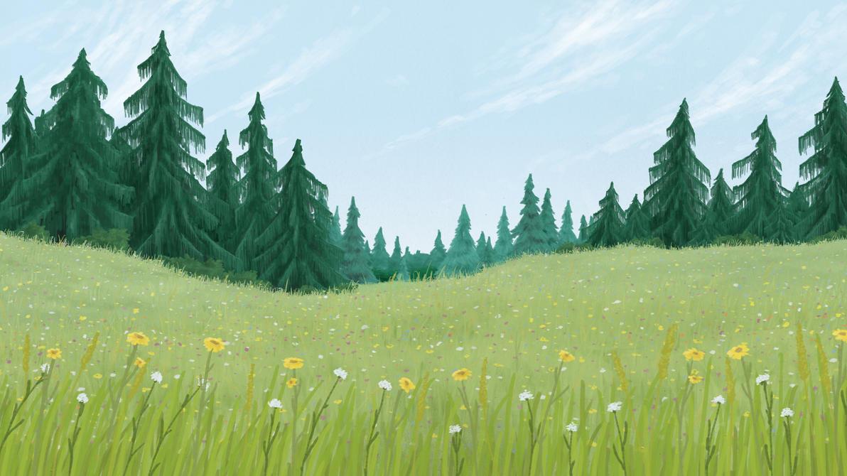 Картинки лесная полянка анимация, днем