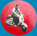 vespa stencil indoors by Gize-dk