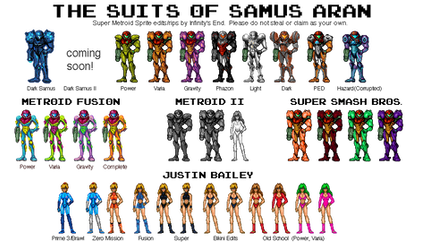 The Suits of Samus Aran by MetroidDatabase