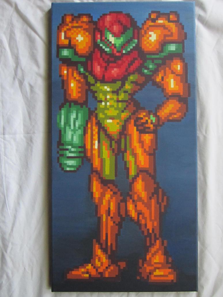 Samus Aran Super Metroid Ending Pixel Painting by MetroidDatabase