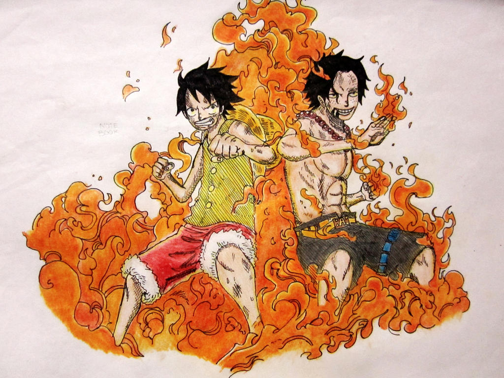 One Piece Ace And Luffy Fight One piece luffy n ace by