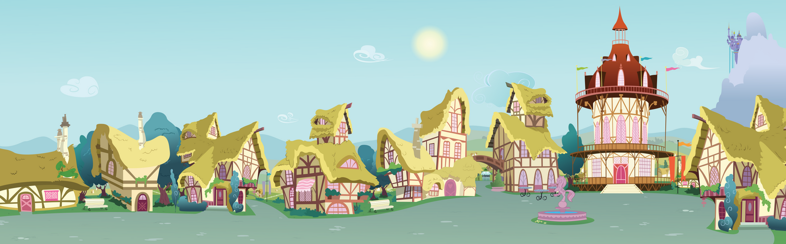 Ponyville Street to Town Center by BonesWolbach