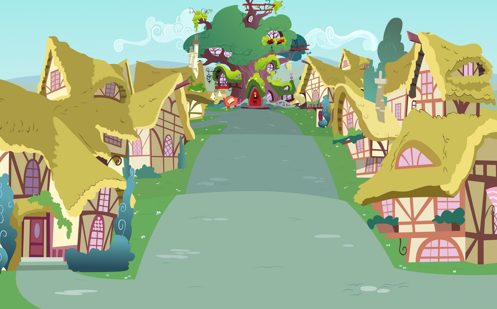 Ponyville Street View Towards Library by BonesWolbach