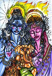 Shiva Family by pangaeastarseed
