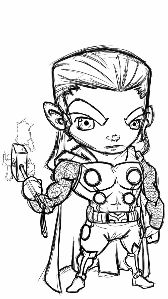 chibi Thor sketch by fwrussell