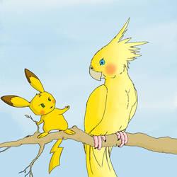 Pikachu feeding a...pikabird?  by fwrussell