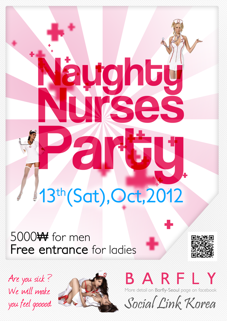 Poster Naughty Nurses Party @Seoul by sakenplet