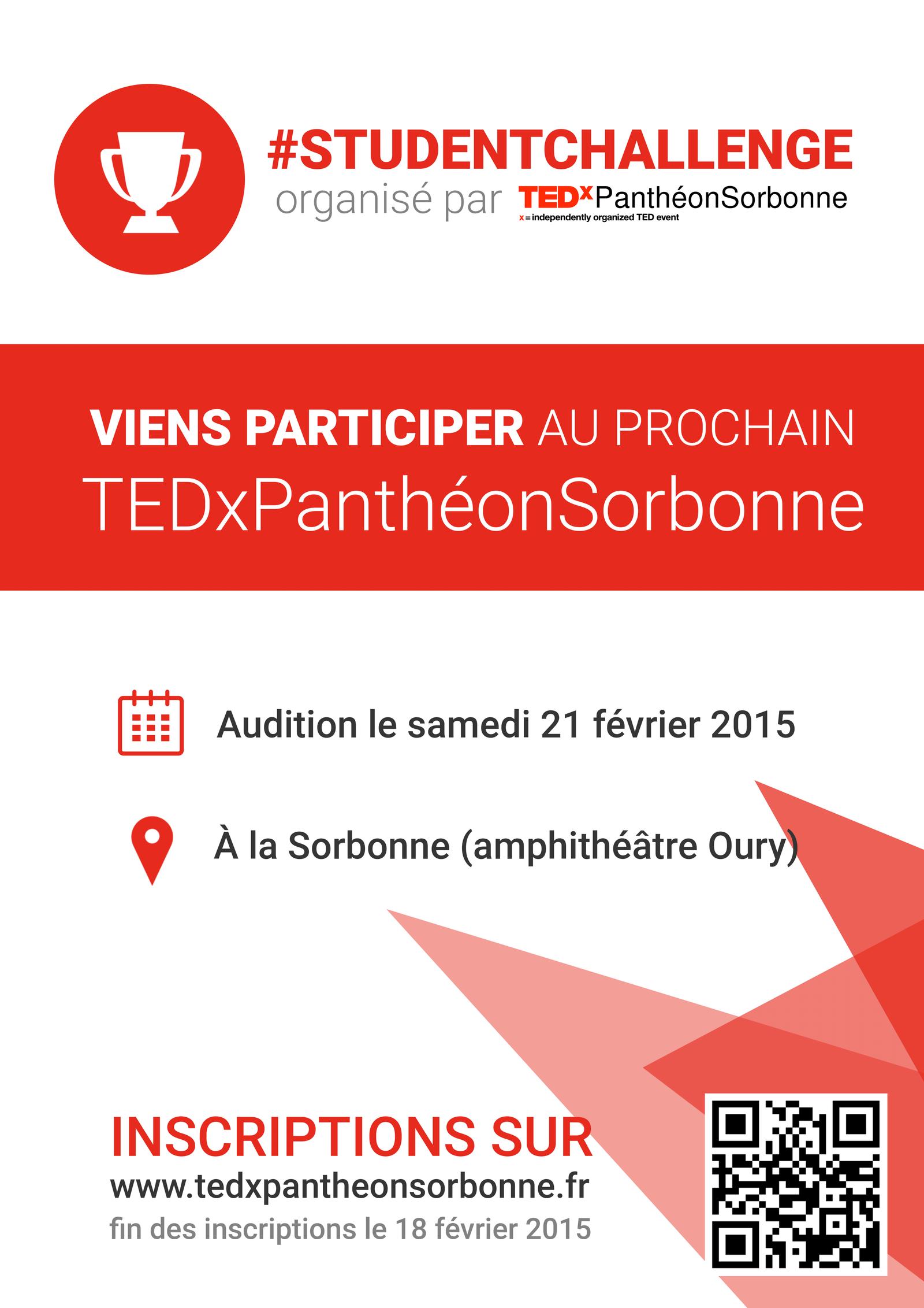 Poster TEDxPantheon Sorbonne Student Challenge by sakenplet