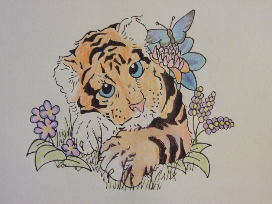 cute tiger tattoo by cookiebutterworth26