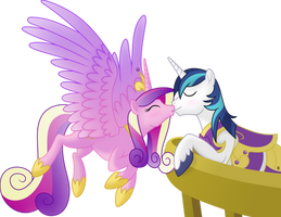 [Princess Cadence, Shining Armor] - Balcony kiss by Negatif22