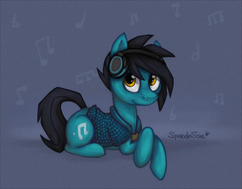 some pony with  headphones by SparkleStarCat