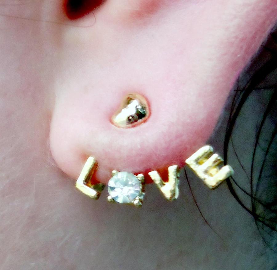 Love Earrings Cuff Wrap Around Gold by Juliefoo