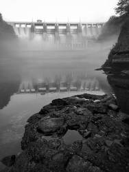 Foggy morning under the dam
